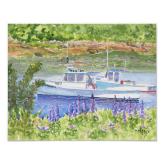 Two Lobster Boats Beals Island Maine Poster