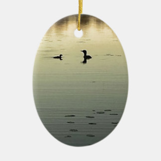 Two loons ceramic ornament
