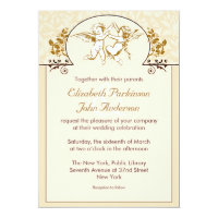 two love angels vintage wedding invitation