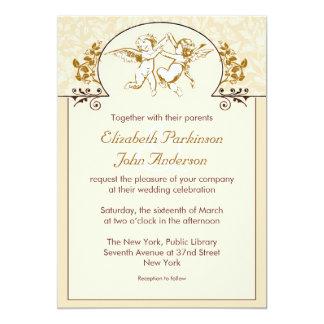 two love angels vintage wedding invitation