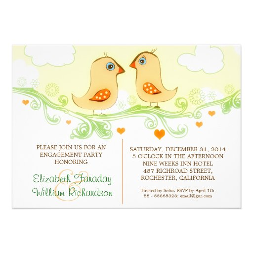 two love birds engagement party invitations
