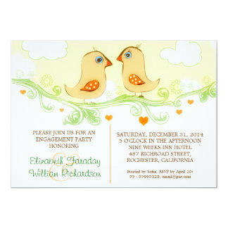 """two love birds engagement party invitations 5"""" x 7"""" invitation card"""