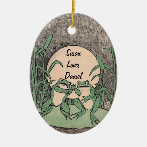 Two Love Green Frogs Double-Sided Oval Ceramic Christmas Ornament