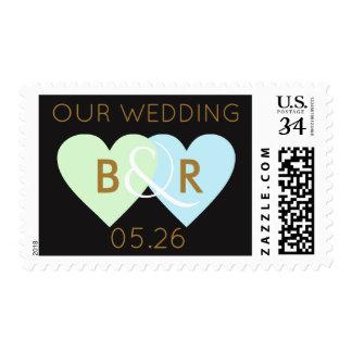two love hearts, monogram wedding postage