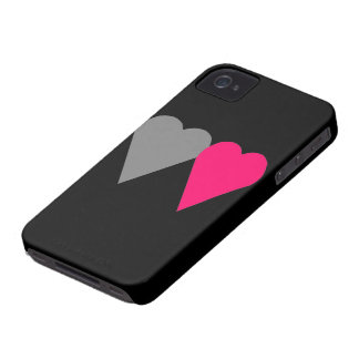 Two Love hearts pink and grey iPhone 4 Cases