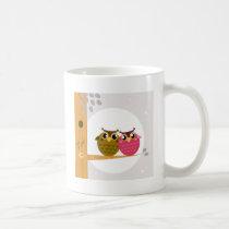 Two love Owls on tree with Moon Coffee Mug