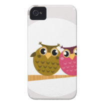 Two love Owls on tree with Moon iPhone 4 Cover