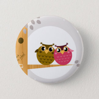 Two love Owls on tree with Moon Pinback Button