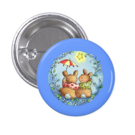 Two Love Rabbits Button