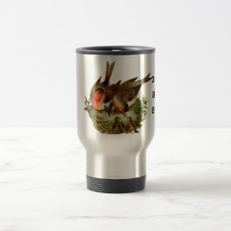 Two lovely adult Robins along with their Babies Travel Mug