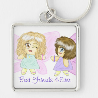 Two Lovely Fairy Best-Friends 4-Ever Keychain