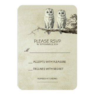 TWO LOVELY OWLS RUSTIC WOODLAND RSVP CARDS ANNOUNCEMENT