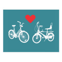 Two lovely vintage bikes find love postcard
