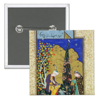 Two Lovers in a Flowering Orchard 2 Inch Square Button