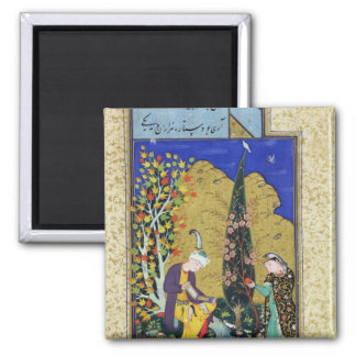 Two Lovers in a Flowering Orchard 2 Inch Square Magnet