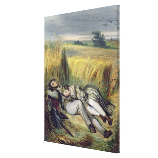 Two lovers Lying in a Cornfield (litho) Canvas Print