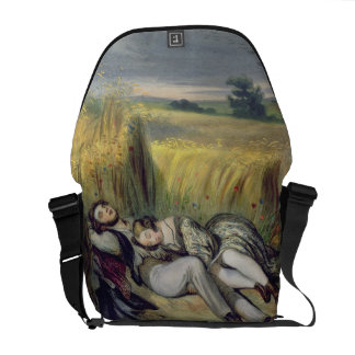 Two lovers Lying in a Cornfield (litho) Messenger Bag