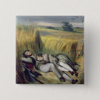 Two lovers Lying in a Cornfield (litho) Pinback Button