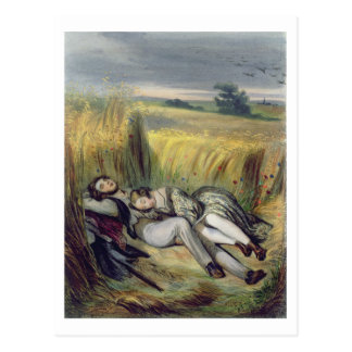 Two lovers Lying in a Cornfield (litho) Postcard