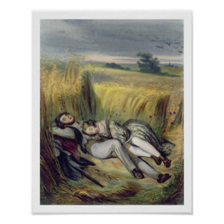 Two lovers Lying in a Cornfield litho Posters