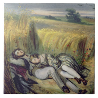 Two lovers Lying in a Cornfield (litho) Tile