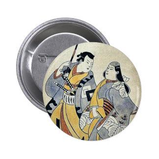 Two lovers under an umb by Torii, Kiyonobu Ukiyoe Buttons