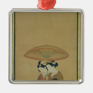 Two Lovers under an Umbrella Square Metal Christmas Ornament