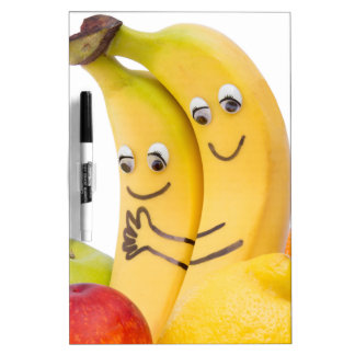 Two loving bananas with eyes and mouth dry erase board