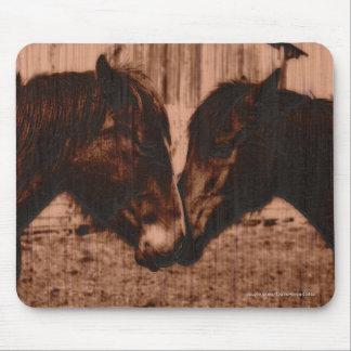Two Loving Horses Wood-burning effect Equine Image Mouse Pad