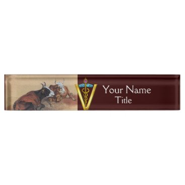 Professional Business TWO LYING COWS GOLD CADUCEUS VETERINARY SYMBOL NAME PLATE