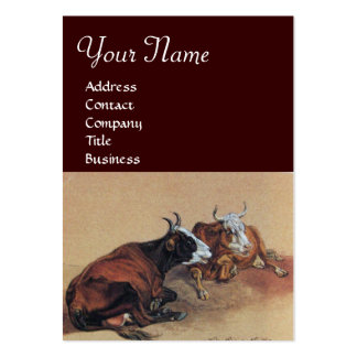 TWO LYING COWS  MONOGRAM LARGE BUSINESS CARDS (Pack OF 100)