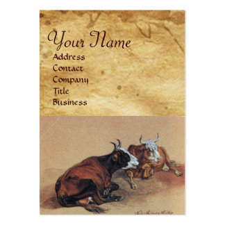 TWO LYING COWS  MONOGRAM Parchment Large Business Card