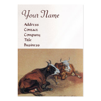TWO LYING COWS  MONOGRAM,White pearl paper Large Business Card