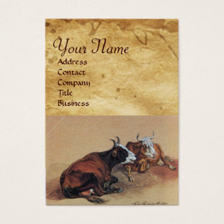 TWO LYING COWS  Parchment Business Card