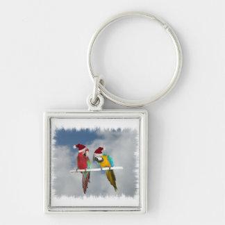 Two macaw Santas Key Chains