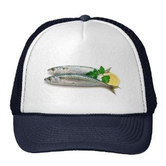 two mackerel with lemon trucker hat