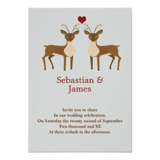 Two Male Deer Gay Pride Love Heart Wedding Card