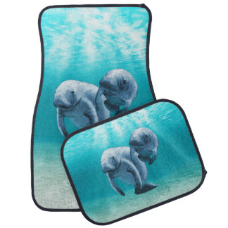 Two Manatees Swimming Car Mat