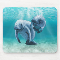 Two Manatees Swimming Mouse Pad