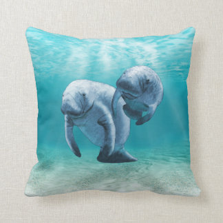Two Manatees Swimming Throw Pillow