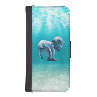 Two Manatees Swimming Wallet Phone Case For iPhone SE/5/5s