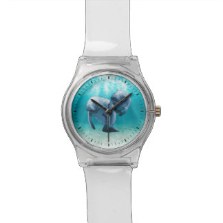 Two Manatees Swimming Wristwatches