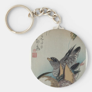 Two Mandarin Ducks by Hiroshige Basic Round Button Keychain