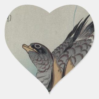 Two Mandarin Ducks by Hiroshige Heart Sticker