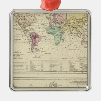 Two Maps of The World Metal Ornament