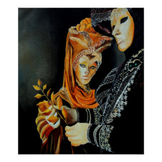 two masks in venice poster