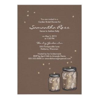 Two Mason Jars Fireflies Bridal Shower Announcement