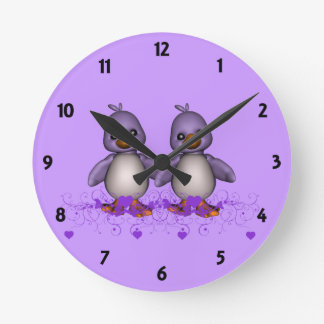 Two Mauve Ducks Childrens Learning Wall Clock