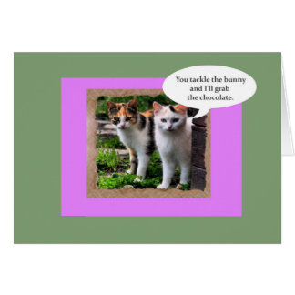 Two Mean Cats Tackle the Easter Bunny Card