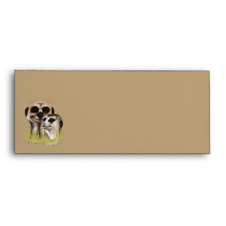 Two Meerkats in grass Evelopes Envelope